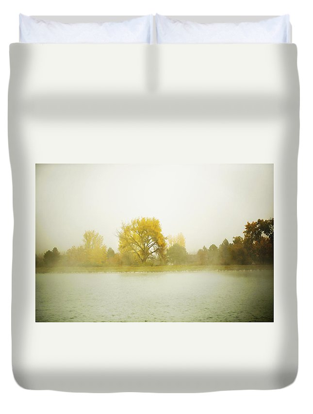 Cottonwood Duvet Cover featuring the photograph Cottonwood And Mist by Marilyn Hunt