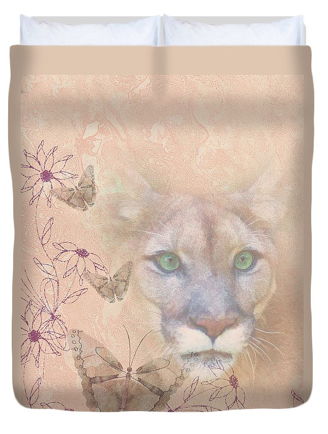 Cougars Duvet Cover featuring the photograph Cougar And Butterflies by Delores Knowles