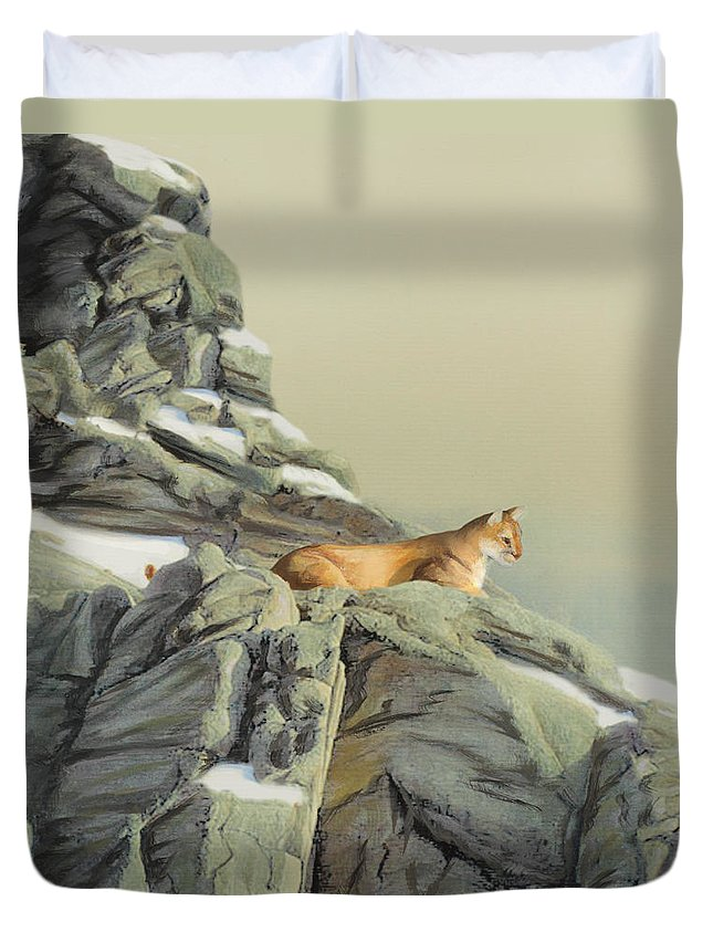 Cougar Duvet Cover featuring the painting Cougar Perch by Jane Girardot