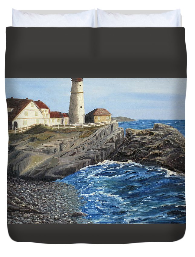 Seascape Duvet Cover featuring the painting Could Be Portland by Barbara McDevitt