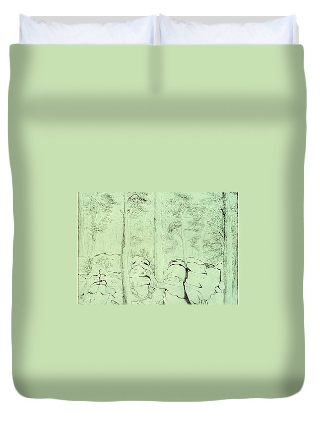 Pencil Duvet Cover featuring the drawing Council Of The Elders by Karen Buford