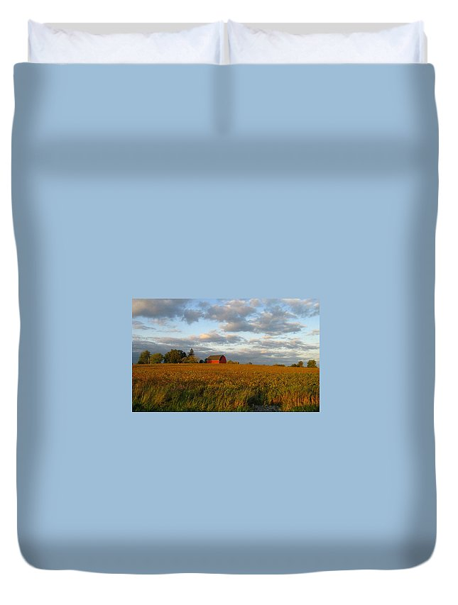 Landscape Duvet Cover featuring the photograph Country Backroad by Rhonda Barrett