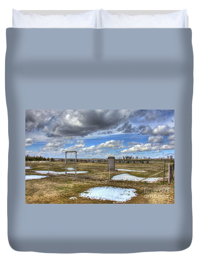 Prairie Duvet Cover featuring the photograph Country Cemetary by M Dale