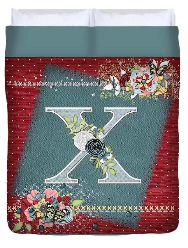 Monogram Duvet Cover featuring the digital art Country Charm Monogramed X by Debra Miller