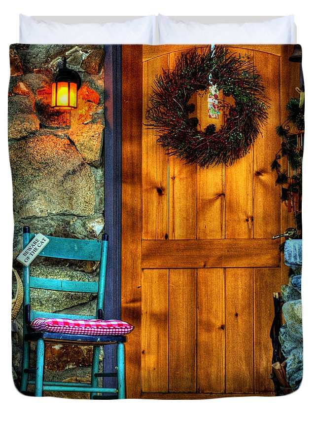 Diana Graves Photography Duvet Cover featuring the photograph Country Cottage Door At Christmas by K D Graves