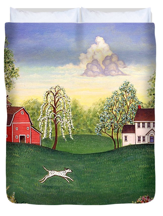 Folk Art Duvet Cover featuring the painting Country Frolic One by Linda Mears