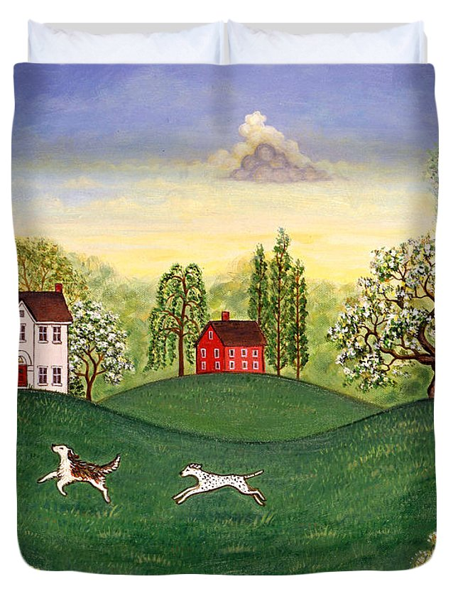 Landscape Duvet Cover featuring the painting Country Frolic Two by Linda Mears