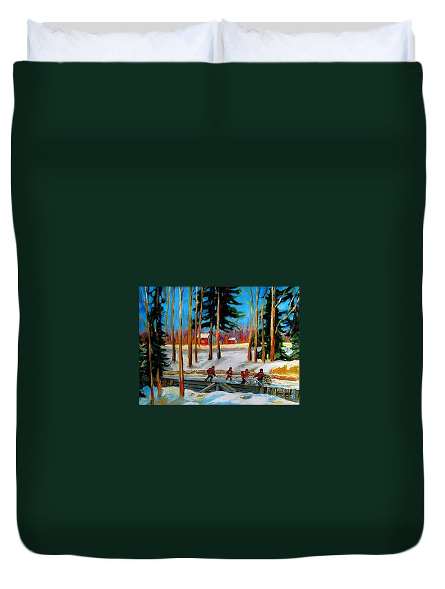 Country Hockey Rink Duvet Cover featuring the painting Country Hockey Rink by Carole Spandau