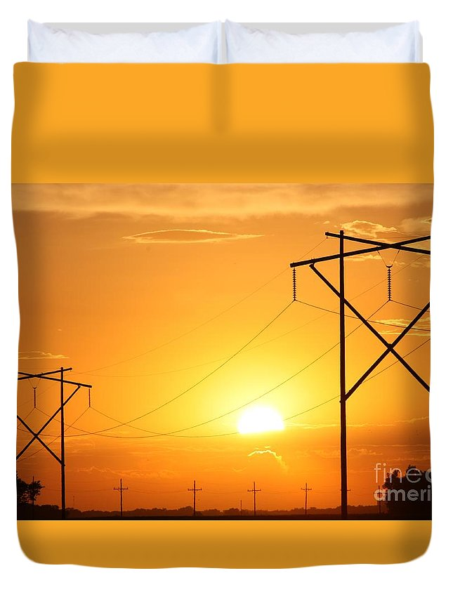 Sun Duvet Cover featuring the photograph Country Powerline's by Robert D Brozek