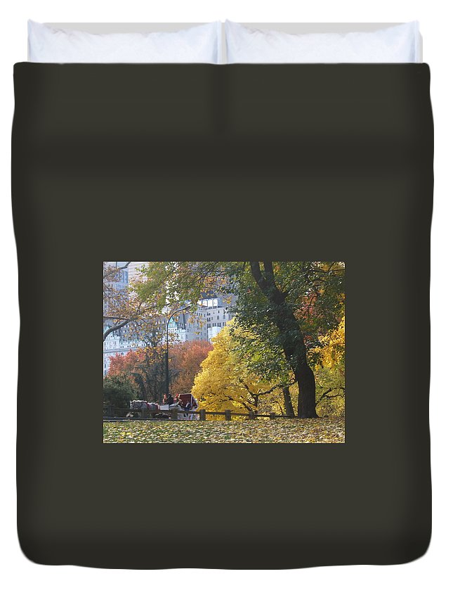 central Park Duvet Cover featuring the photograph Country Ride In The City by Barbara McDevitt