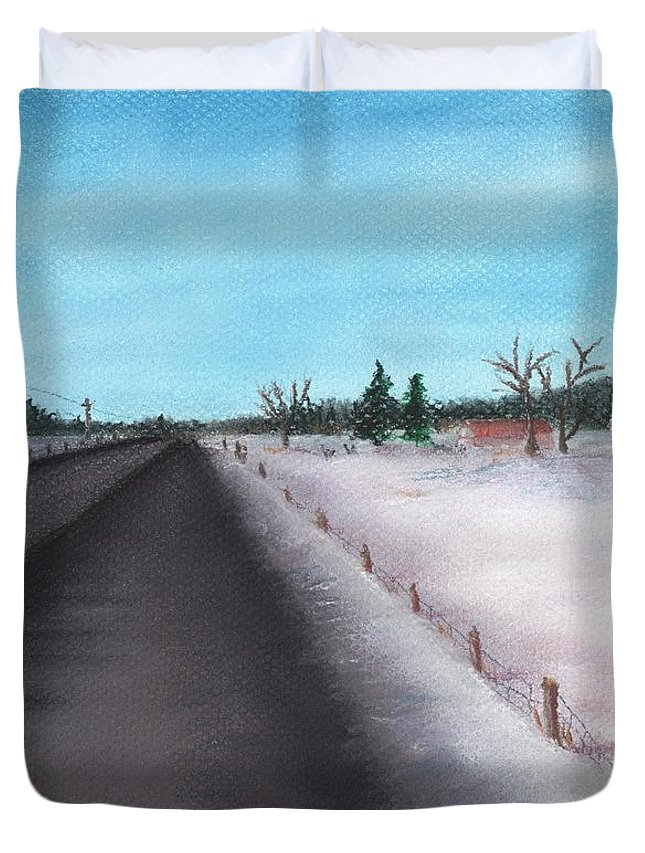 Calm Duvet Cover featuring the painting Country Road by Anastasiya Malakhova