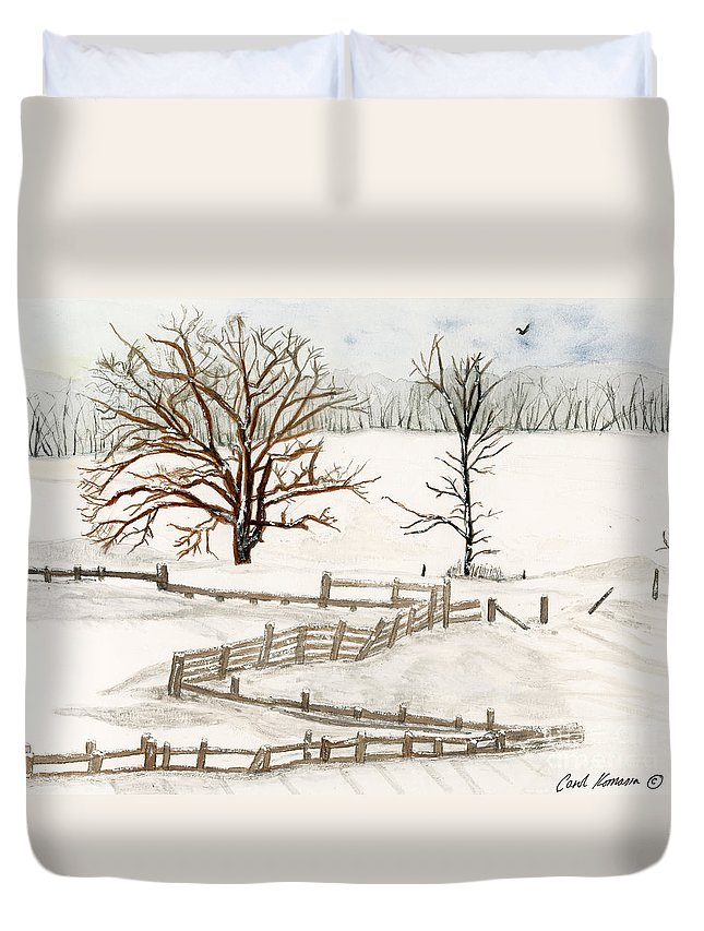 Country Duvet Cover featuring the painting Country Snow Scene Ozaukee County Wisconsin by Carol Komassa