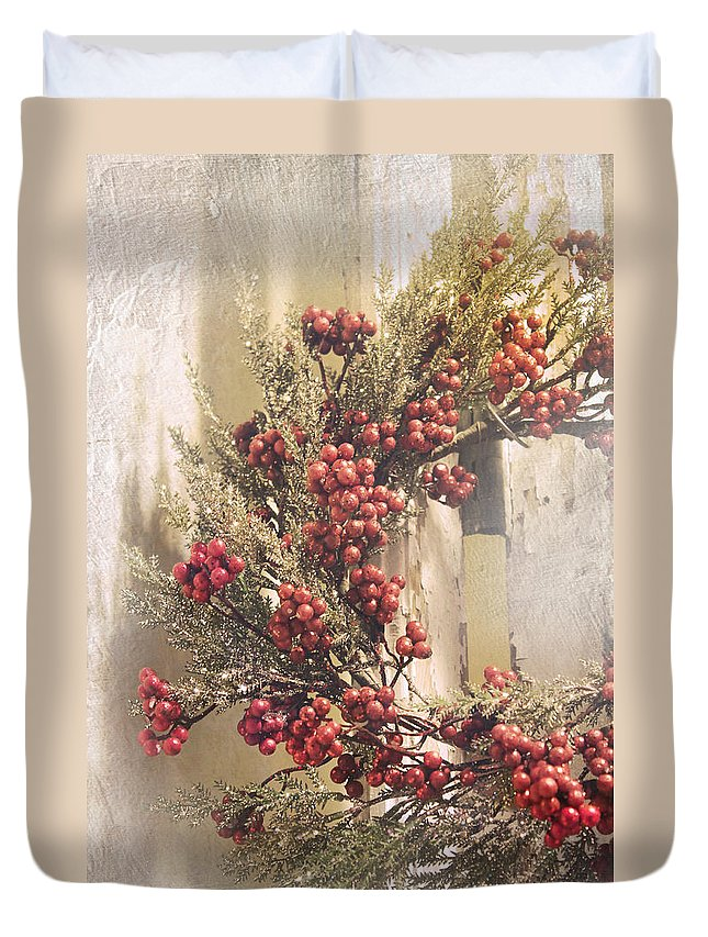 Christmas Duvet Cover featuring the photograph Country Wreath With Red Berries by Robin Lewis