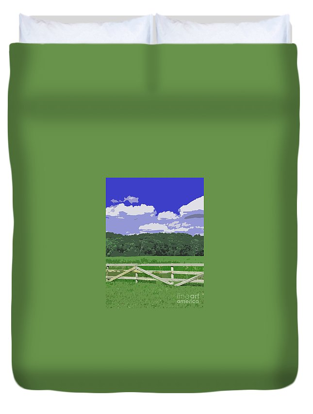 Farm Duvet Cover featuring the photograph Countryside Scene Digital Painting by Minding My Visions by Adri and Ray