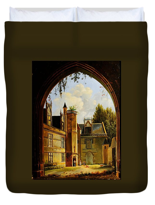 Cour Hotel De Cluny Mnma Cl23879 Duvet Cover featuring the painting Cour Hotel De Cluny Mnma Cl23879 by MotionAge Designs