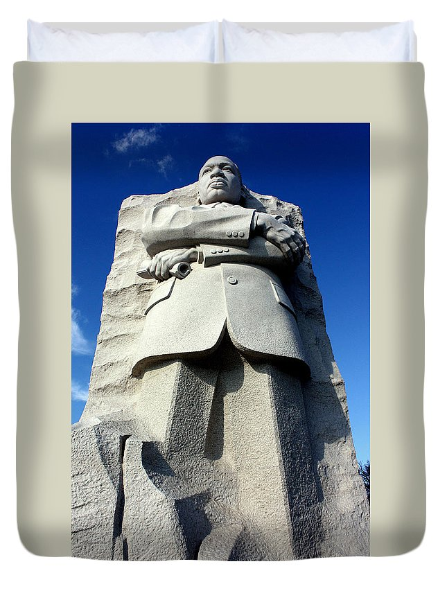 Martin Luther King Duvet Cover featuring the photograph Courage by Suzanne Stout