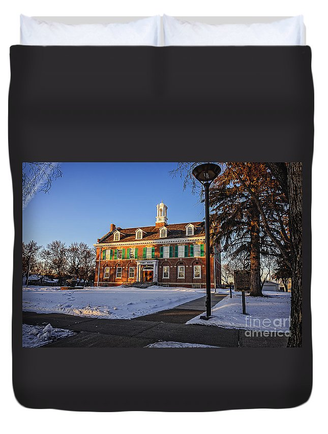Court Duvet Cover featuring the photograph Court House In Winter Time by Viktor Birkus