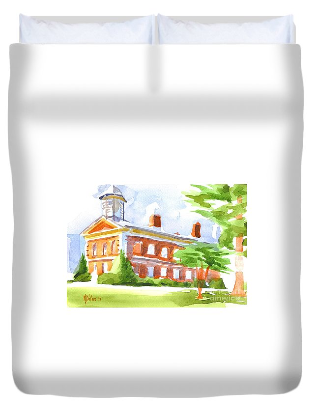 Courthouse In Summery Sun Duvet Cover featuring the painting Courthouse In Summery Sun by Kip DeVore