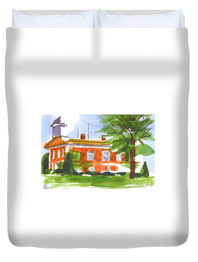 Courthouse On A Summers Evening Duvet Cover featuring the painting Courthouse On A Summers Evening by Kip DeVore