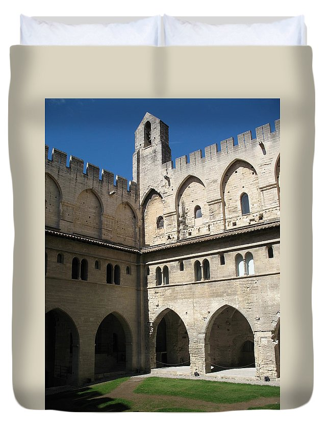 Croos-coat Duvet Cover featuring the photograph Courtyard - Palace Avignon by Christiane Schulze Art And Photography