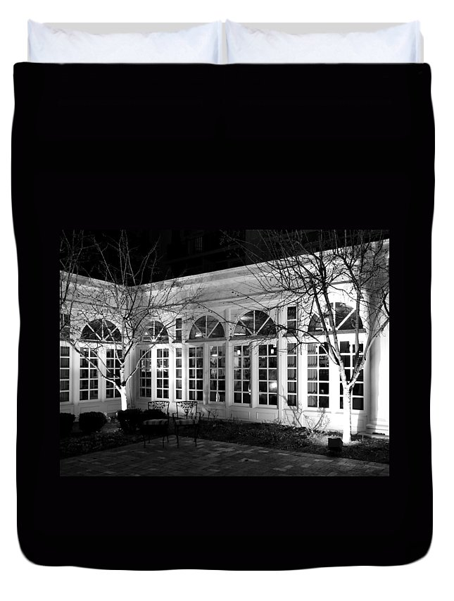 Courtyard Duvet Cover featuring the photograph Courtyard View by Ally White