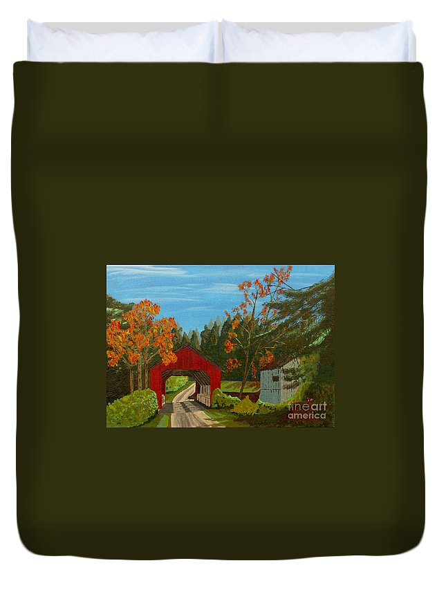 Path Duvet Cover featuring the painting Covered Bridge by Anthony Dunphy