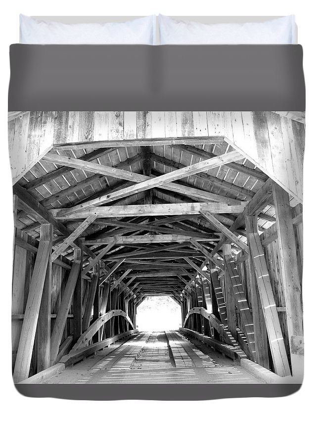 Wooden Bridge Duvet Cover featuring the photograph Covered Bridge Architecture by Barbara McDevitt