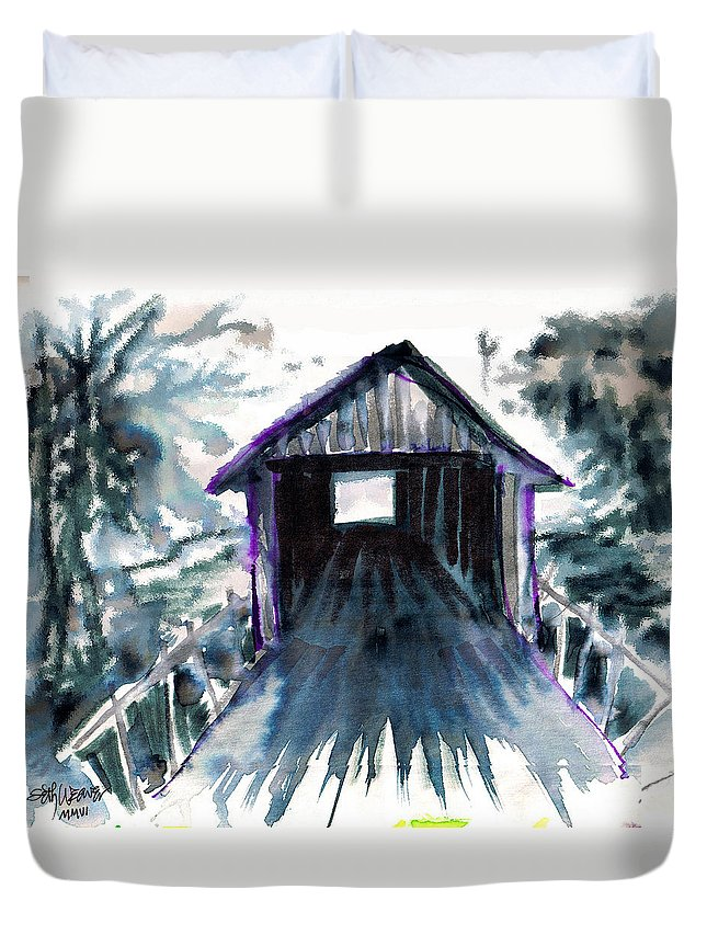 Old South Duvet Cover featuring the digital art Covered Bridge by Seth Weaver