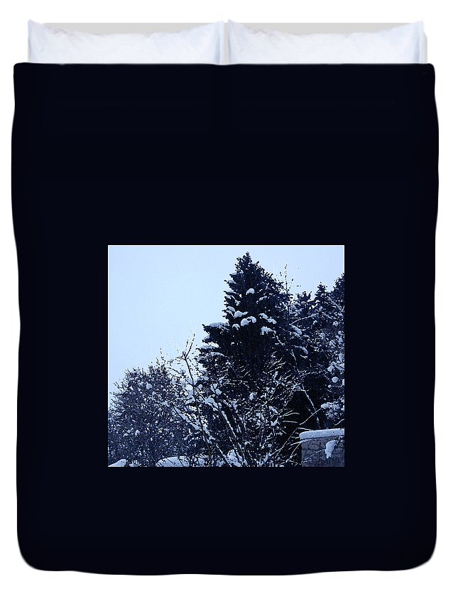 Landscape Of Snow Duvet Cover featuring the photograph Covered Snow Trees by Gina Dsgn