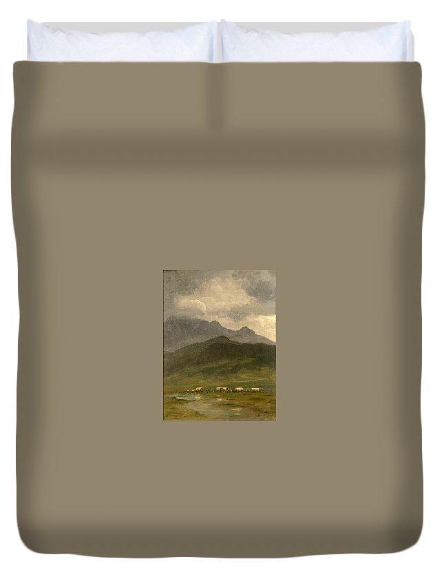 Covered Wagons Duvet Cover featuring the painting Covered Wagons by Albert Bierstadt