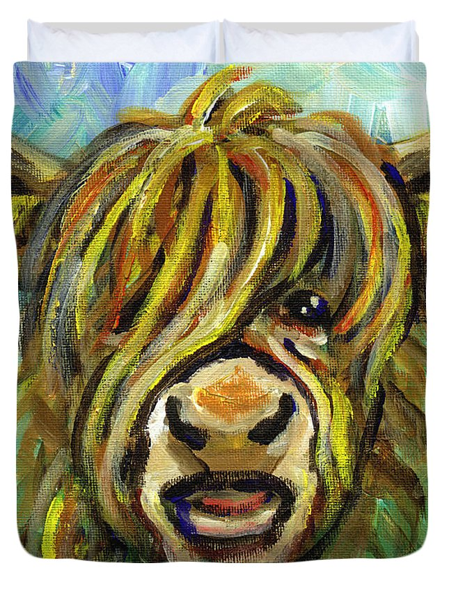 Cows Face Duvet Cover featuring the painting Cow Face 101 by Linda Mears