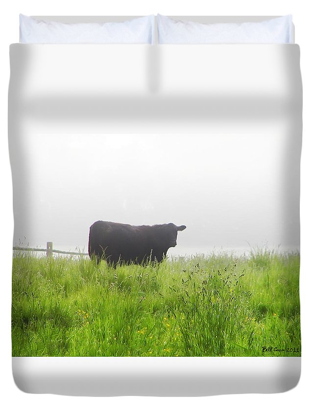 Fog Duvet Cover featuring the photograph Cow In Fog by Bill Cannon