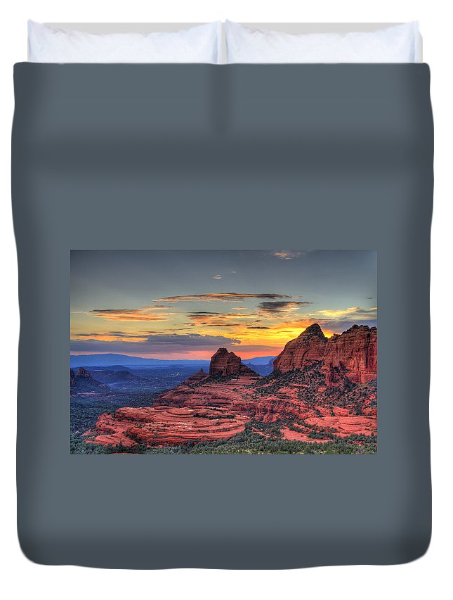 Red Rocks Duvet Cover featuring the photograph Cow Pies Sunset by Alexey Stiop