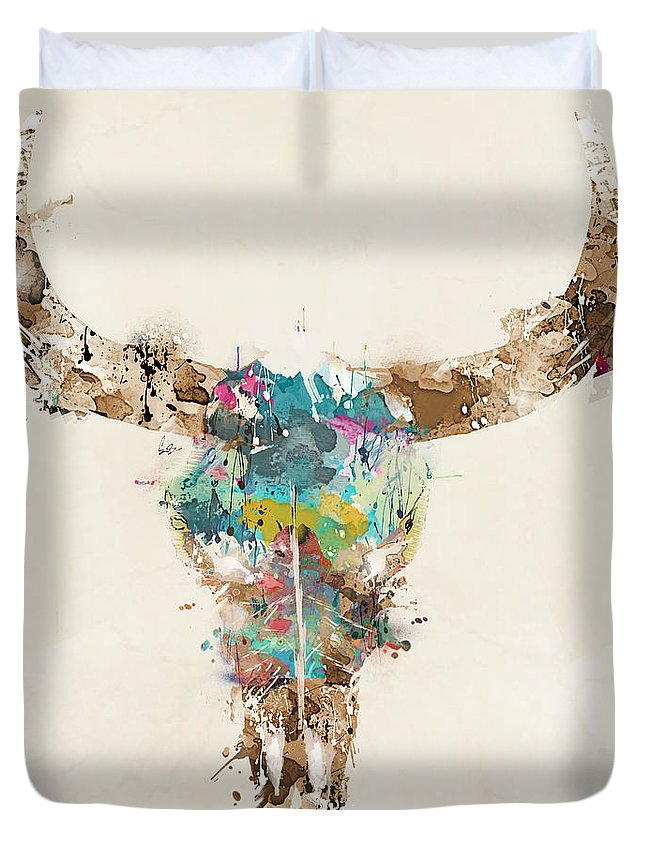 Cow Skull Duvet Cover featuring the painting Cow Skull by Bri Buckley