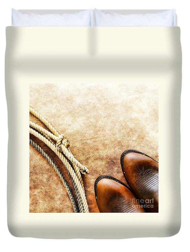 Rodeo Duvet Cover featuring the photograph Cowboy Boots And Lasso by Olivier Le Queinec