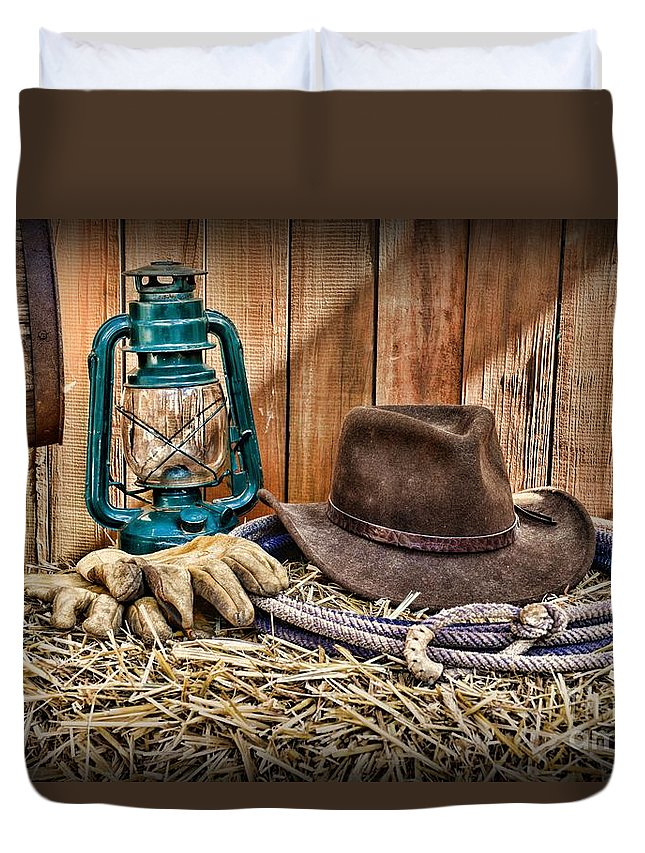 c6dc894b85e Barn Duvet Cover featuring the photograph Cowboy Hat And Rodeo Lasso by Paul  Ward