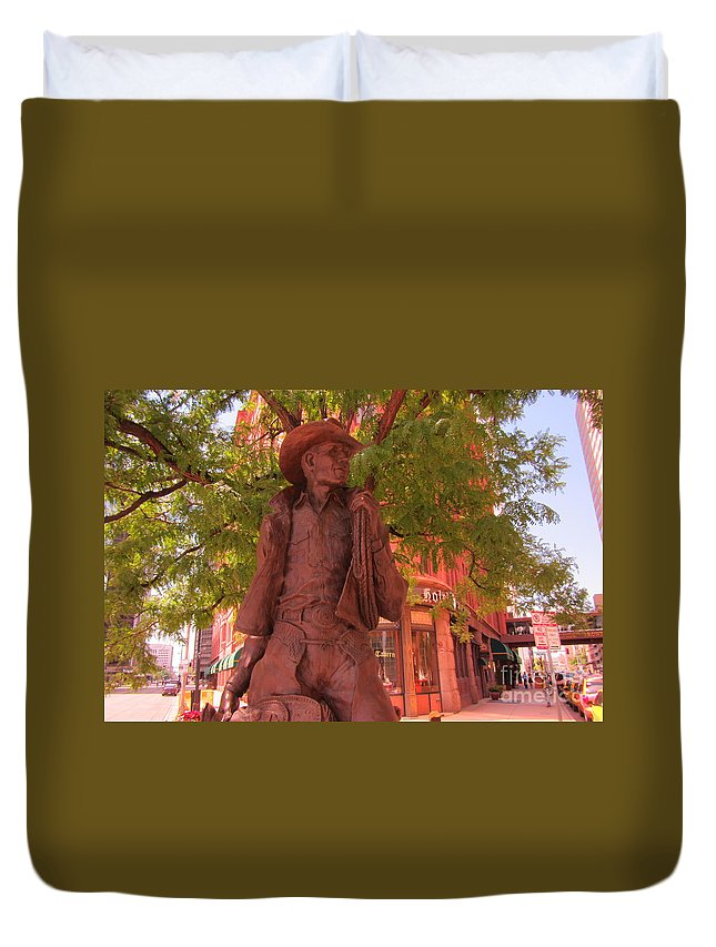Western Sculpture Art Duvet Cover featuring the photograph Cowboy Statue In Front Of The Brown Palace Hotel In Denver by John Malone