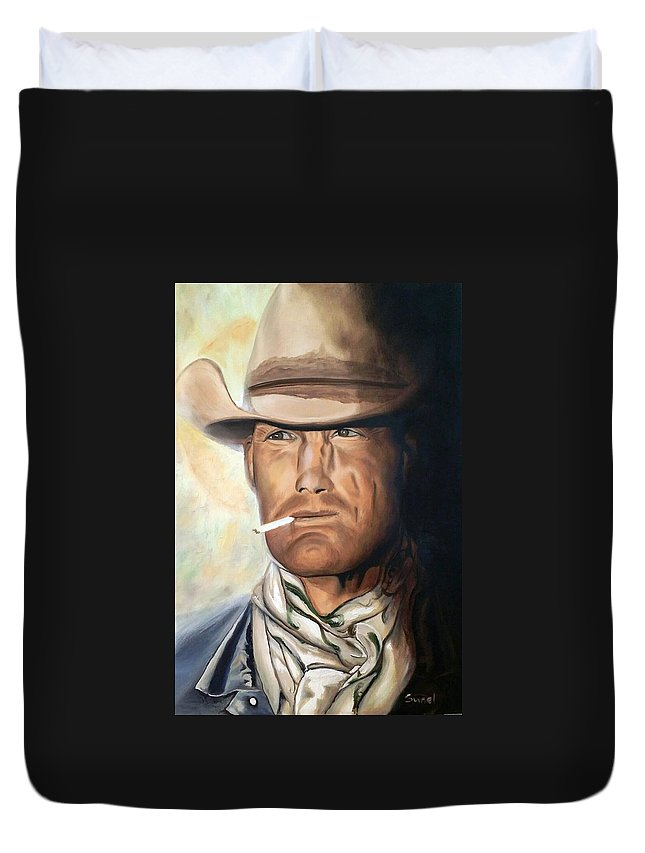 Cowboy Duvet Cover featuring the painting Cowboy by Sunel De Lange