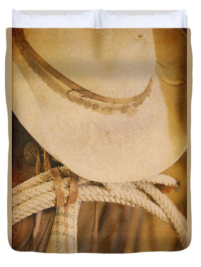 Cowboy Hat Duvet Cover featuring the digital art Cowboy Supplies by Erika Weber
