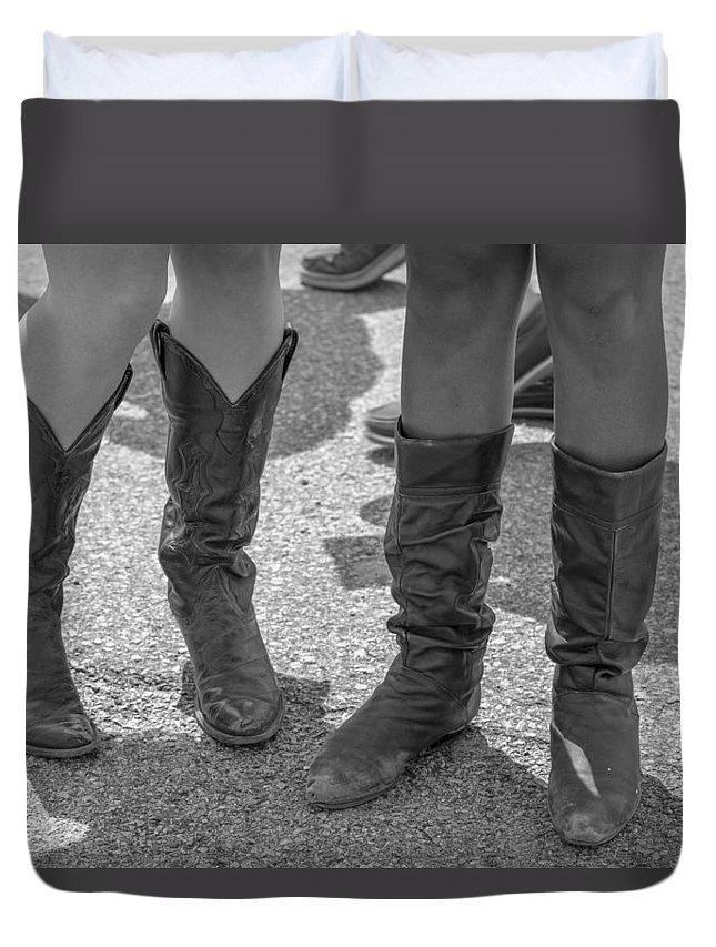 Cowboy Boots Duvet Cover featuring the photograph Cowgirl Boots by John McGraw