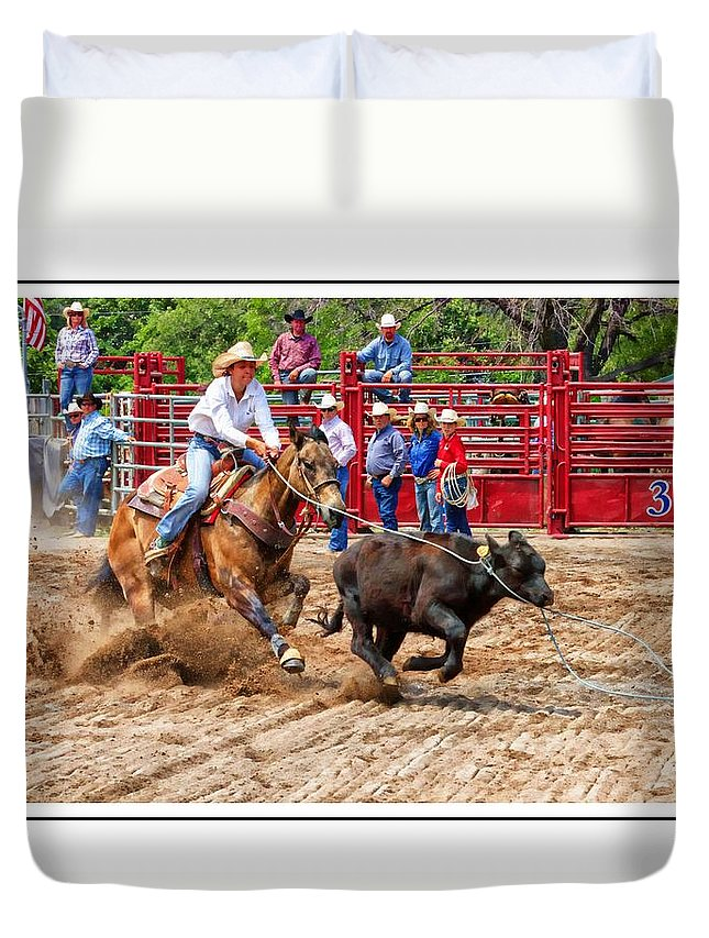 Cowgirl Duvet Cover featuring the photograph Cowgirl Gotcha by Alice Gipson