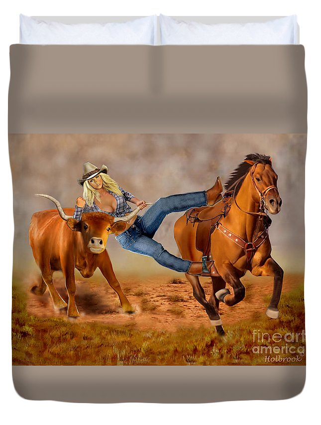 Cowgirl Duvet Cover featuring the digital art Cowgirl Steer Wrestling by Glenn Holbrook