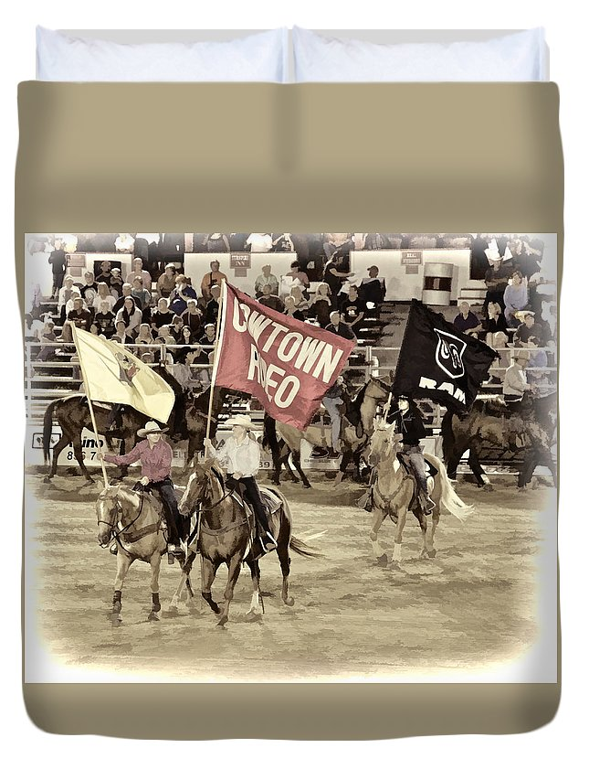 Cowtown Grand Entry Flags Horses Ladies Duvet Cover featuring the photograph Cowtown Grand Entry by Alice Gipson