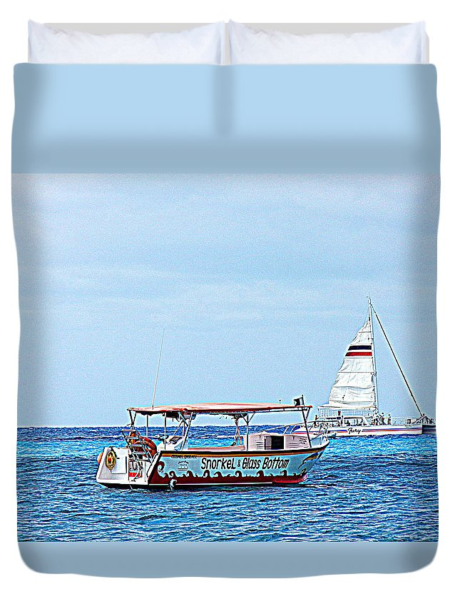 Cozumel Excursion Boats Duvet Cover featuring the photograph Cozumel Excursion Boats by Debra Martz