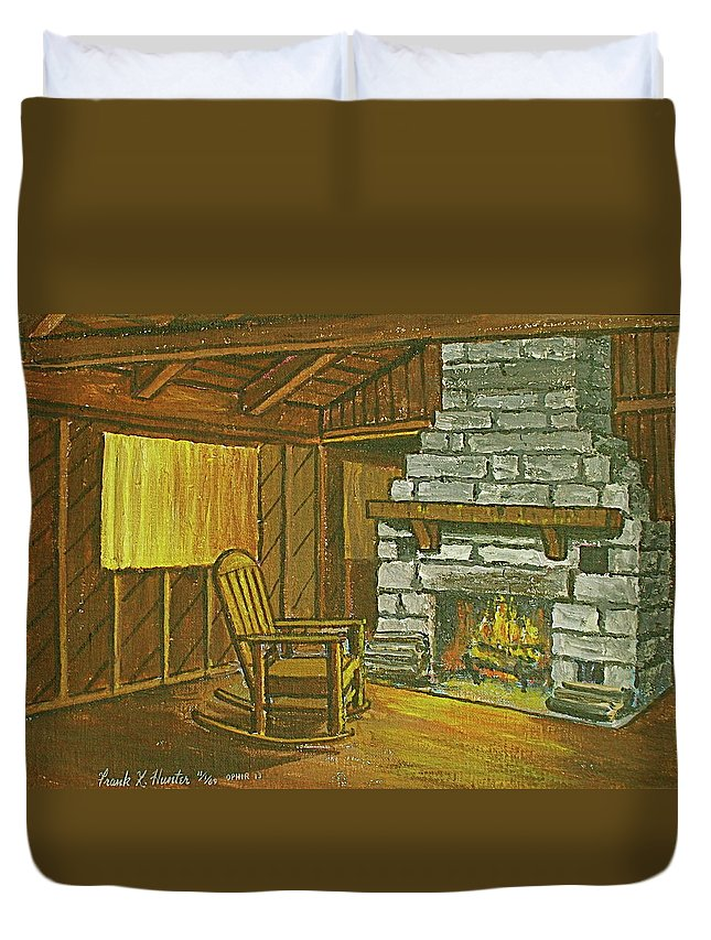 Cozy Fireplace Lake Hope Chimney Chair Yellow Curtains. Duvet Cover featuring the painting Cozy Fireplace At Lake Hope Ohio by Frank Hunter