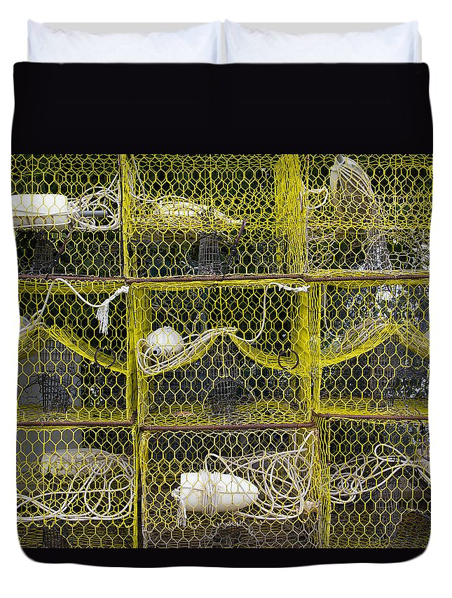 Bay Duvet Cover featuring the photograph Crab Pots by Leah Palmer