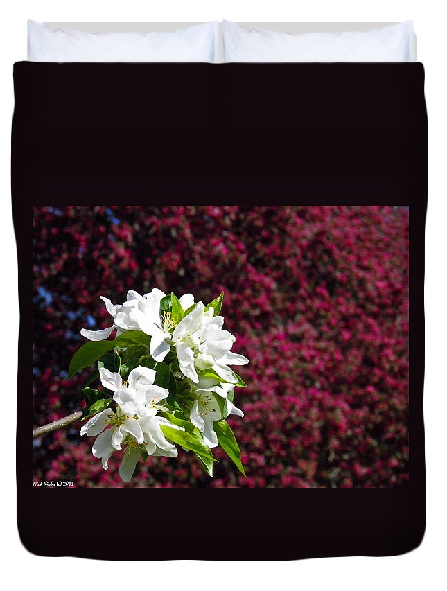 Crabapple Duvet Cover featuring the photograph Crabapple Blooms 2 by Nick Kirby