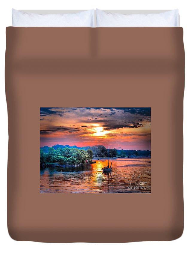Sailboat Duvet Cover featuring the photograph Crack O' Dawn by Robert McCubbin