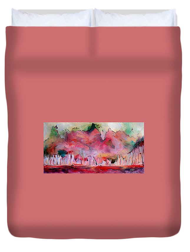 Surrealism Duvet Cover featuring the painting Crack The Sky by Art by Kar