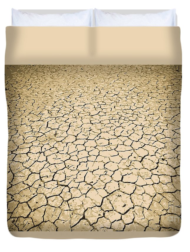 Land Duvet Cover featuring the photograph Cracked Ground by Tim Hester